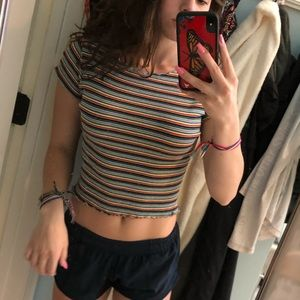 brandy striped cropped tee